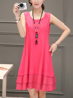Pink Shift Plus Size Cute Above Knee Dress for Casual Party Evening On Sale