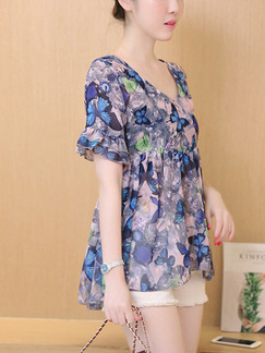 Colorful V Neck Floral Top for Casual On Sale