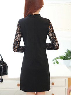 Black Long Sleeve Shift Above Knee Plus Size Lace Dress for Casual Evening Office On Sale