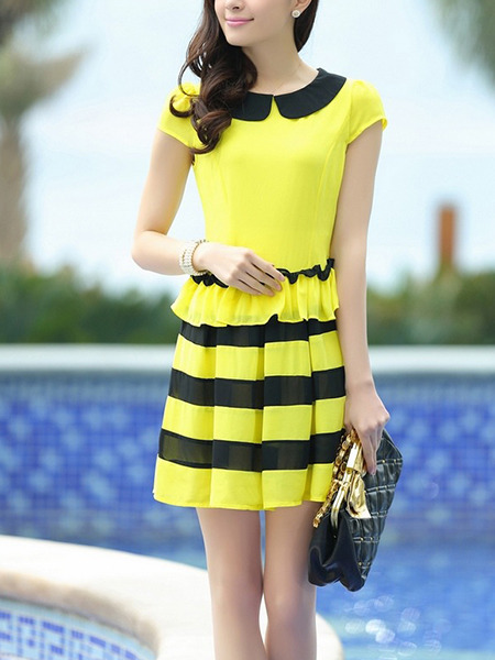 Yellow and Black Fit & Flare Above Knee Plus Size Cute Shirt Dress for Casual Evening Office On Sale