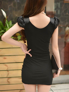 Black Bodycon Above Knee V Neck Plus Size Dress for Party Evening Cocktail