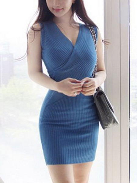 Blue Bodycon Knitted Above Knee V Neck Dress for Party Evening Cocktail