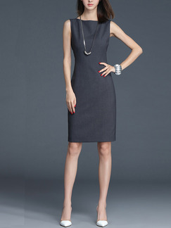 Grey Sheath Above Knee Plus Size Dress for Casual Office