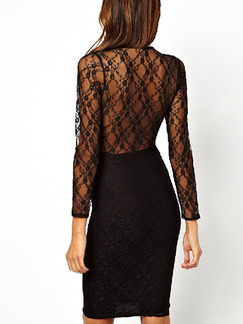 Black Bodycon Lace V Neck Plus Size Above Knee Dress for Cocktail Party Evening