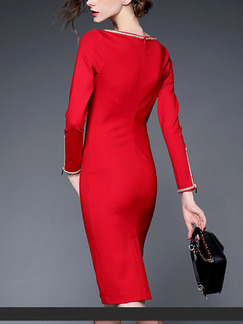 Red Sheath Above Knee Plus Size Long Sleeve Dress for Casual Office