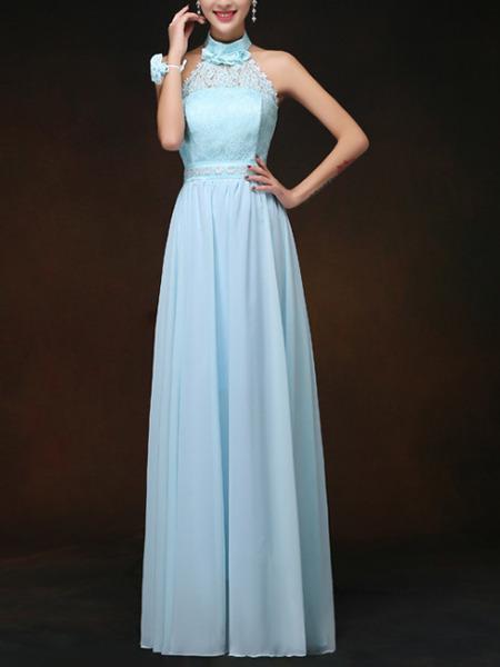 Blue Maxi Halter Lace Plus Size Dress For Prom Bridesmaid