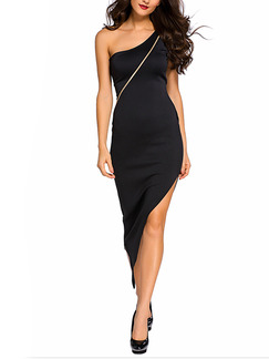 Black One Shoulder Bodycon Midi Dress for Party Evening Cocktail
