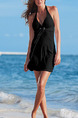 Black Shift Above Knee Halter V Neck Plus Size Dress for Casual Beach