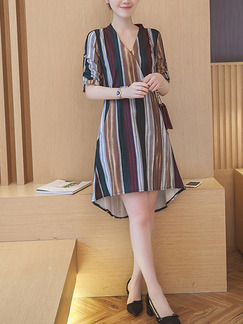 Colorful Wrap Shift Above Knee V Neck Plus Size Dress for Casual Office