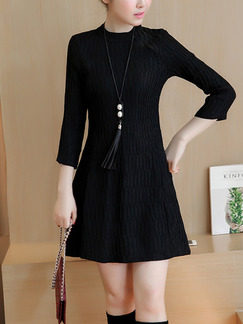 Black Shift Above Knee Plus Size Dress for Casual Office