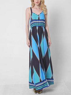 Blue Slip Maxi Plus Size Dress for Casual Beach