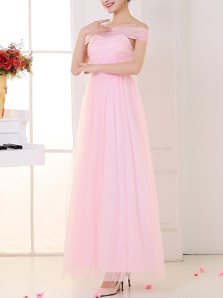 Pink Cute Maxi Off Shoulder Dress for Prom Bridesmaid