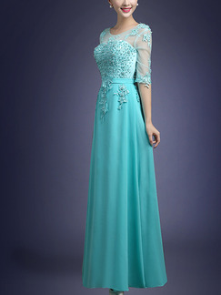 Green Maxi Lace Dress for Prom Bridesmaid