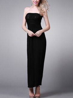 Black Maxi Strapless Dress for Cocktail Evening Party