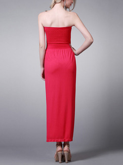 Red Maxi Strapless Dress for Cocktail Evening Party