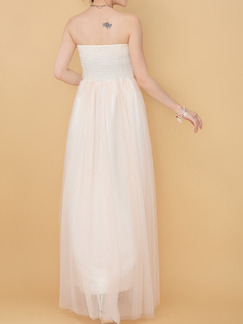 Cream Maxi Strapless Dress for Prom Bridesmaid