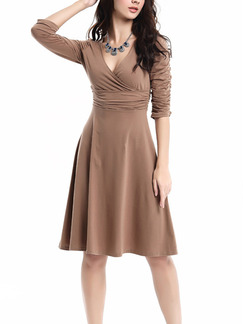 Brown Long Sleeve Fit & Flare V Neck Above Knee Plus Size Dress for Casual Evening Party