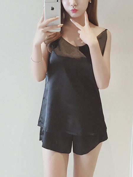 Black Two Piece Shirt Shorts Wide Leg Jumpsuit for Casual