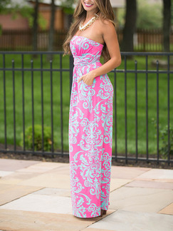 Pink Cute Maxi Strapless Plus Size Dress for Casual Beach