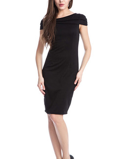 Black Sheath Plus Size Above Knee Dress for Evening Party Cocktail