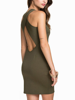 Green Bodycon Above Knee Halter Plus Size Dress for Party Evening Cocktail