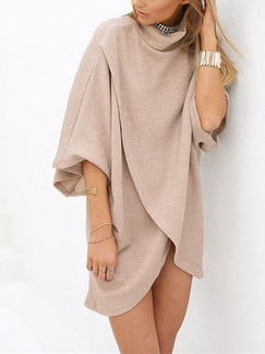 Beige Above Knee Plus Size Shift Dress for Party Evening Cocktail