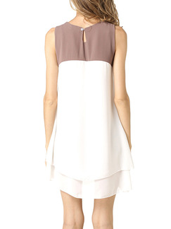 Brown and White Shift Above Knee Plus Size Dress for Casual Party Evening