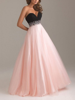 Pink and Black Strapless Maxi Plus Size Dress for Prom Bridesmaid Ball
