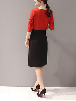 Red and Black Two Piece Sheath Knee Length Plus Size Dress for Casual Office Evening