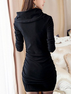 Black Bodycon Above Knee Plus Size Long Sleeve Dress for Party Evening Cocktail