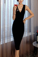 Black Knee Length Bodycon V Neck Dress for Party Evening Cocktail