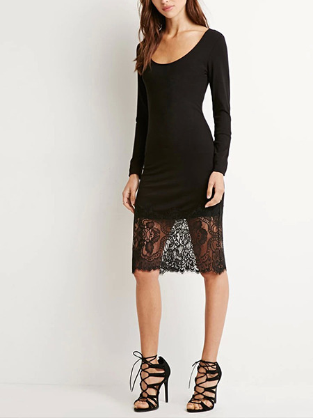 Black Knee Length Lace Long Sleeve Plus Size Bodycon Dress for Party Evening Cocktail
