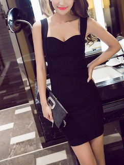 Black Bodycon Above Knee Slip Dress for Party Evening Cocktail