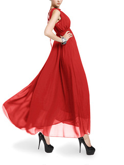 Red Maxi Halter Plus Size Dress for Prom Bridesmaid Ball