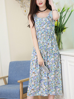 Colorful Shift Midi Floral Dress for Casual Beach