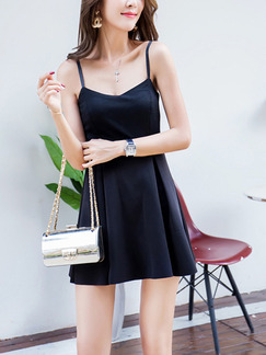 Black Fit & Flare Slip Above Knee Dress for Casual Party Evening