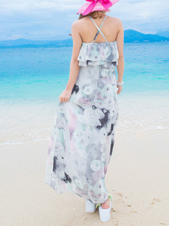 White Maxi Floral Halter Dress for Casual Beach