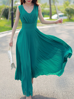 Green Maxi Plus Size V Neck Dress for Beach Prom Bridesmaid Evening