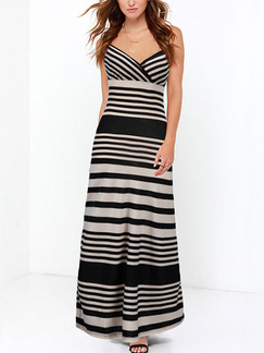 Black and Grey Maxi Slip Plus Size V Neck Dress for Evening Party Cocktail