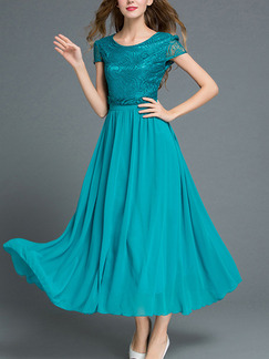 Green Midi Plus Size Lace Fit & Flare Dress for Prom Party Evening