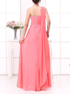 Pink Maxi One Shoulder Plus Size Cute Dress for Prom Bridesmaid