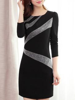 Black and Grey Sheath Plus Size Above Knee Dress for Party Evening Cocktail