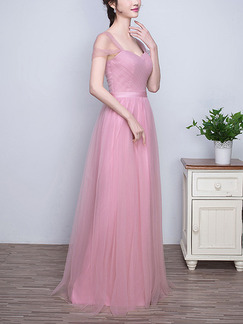 Pink Off Shoulder Maxi Plus Size Cute Dress for Prom Bridesmaid