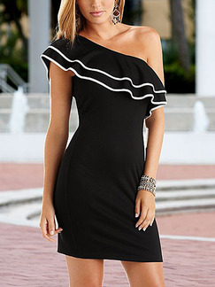 Black One Shoulder Bodycon Plus Size Above Knee Dress for Party Evening Cocktail
