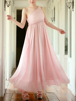 Pink One Shoulder Maxi Plus Size Cute Dress For Prom Bridesmaid