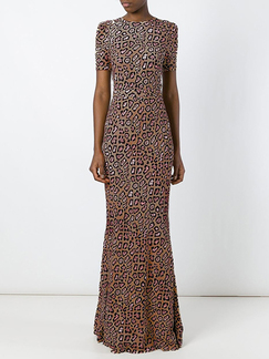 Leopard Maxi Long Sleeve Plus Size Dress for Cocktail Evening Party