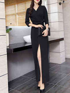 Black Long Sleeve V Neck Maxi Wrap Plus Size Dress for Cocktail Party Evening