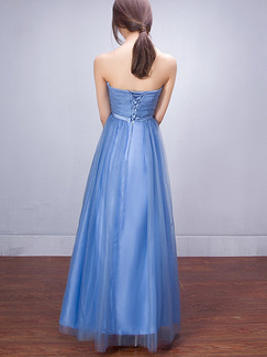 Blue Strapless Maxi Plus Size Dress for Prom Bridesmaid