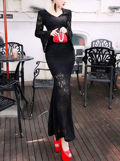 Black Maxi Lace Long Sleeve V Neck Dress for Cocktail