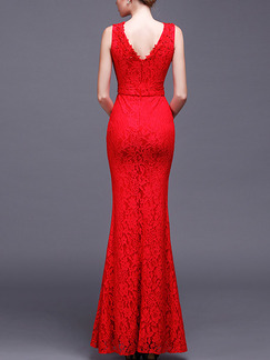 Red Maxi Bodycon V Neck Lace Dress for Prom Bridesmaid Cocktail